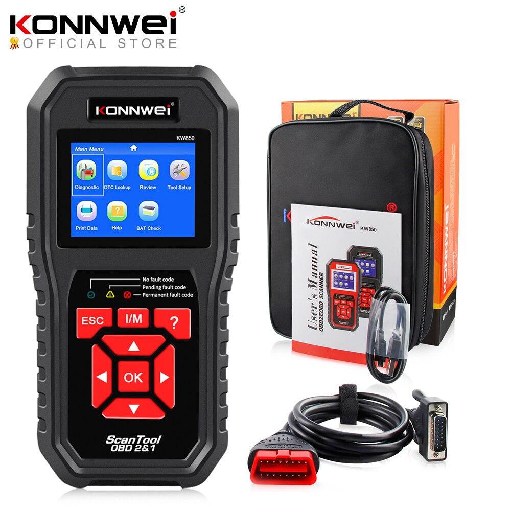 KONNWEI KW850 OBD2 Auto Diagnostic Scanner Tools OBD 2 Car Diagnostic Tool Check Engine Automotive Car Scanner Code Reader Black